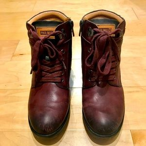 Pikolinos Burgundy Leather Ankle Boots - Size 8